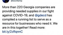 Governor Kemp Lists Covid-19 Suppliers